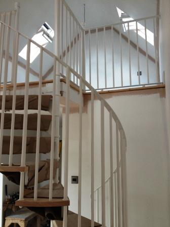 Stratford Installation Timber Tread Steel Spiral Staircase Balustrade 1