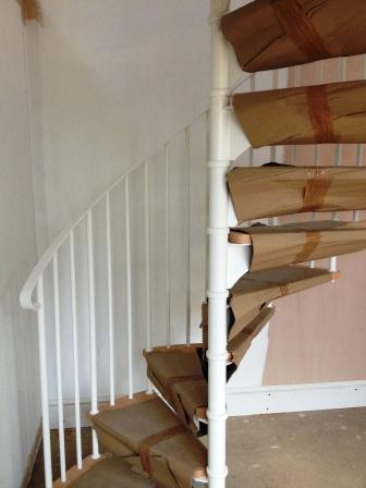 Stratford Installation Timber Tread Steel Spiral Staircase Balustrade 2