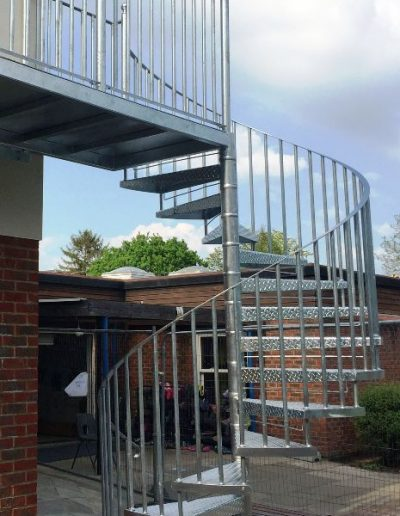 Galvanised fire escape and landing compressed