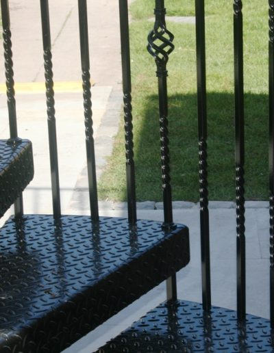 Traditional balusters on Cat C fire escape compressed