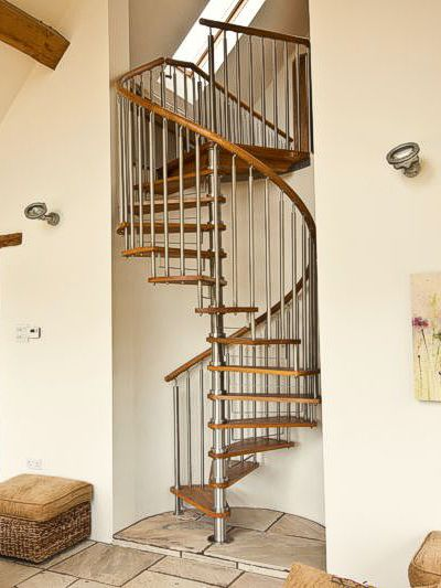 Modern Stainless Steel & Timber Spiral Staircase