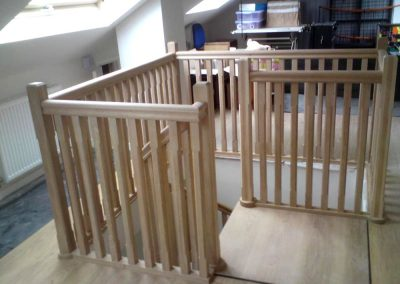 Warwickshire hard wood stair with square landing to loft